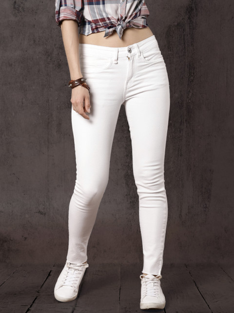Roadster Women White Regular Fit Mid-Rise Clean Look Stretchable Jeans