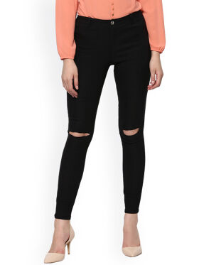 SASSAFRAS Black Skinny Fit Slash Knee Jegging