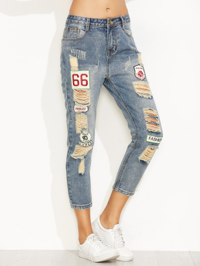 Blue Distressed Ripped Embroidered Jeans