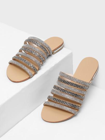 Rhinestone Detail Strappy Sandals