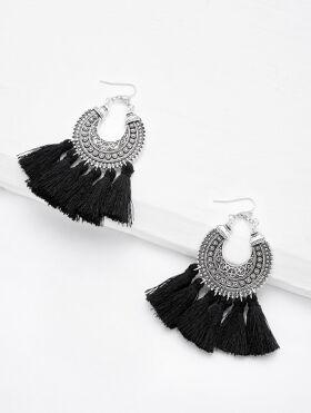 Circle Hoop Vintage Tassel Earrings