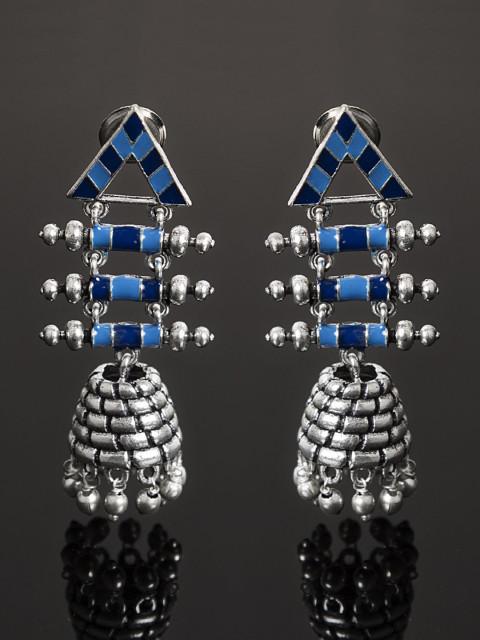 Studio Voylla Azure Silver-Toned & Blue Dome Shaped Jhumkas