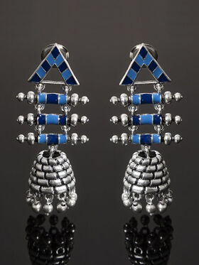 Studio Voylla Azure Silver-Toned & Blue Dome Shaped Jhumkas