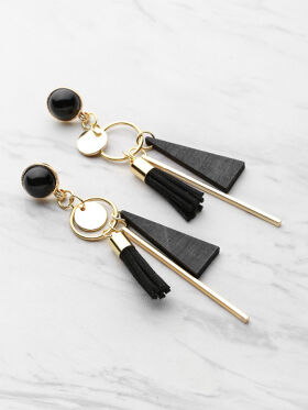 Triangle And Tassel Detail Drop Earring
