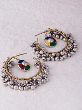 Studio Voylla Kutch Multicoloured Silver-Plated Half Hoop Earrings
