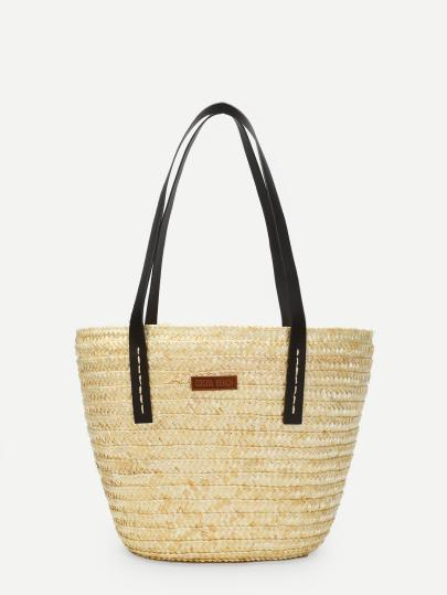Double Handle Straw Shoulder Bag