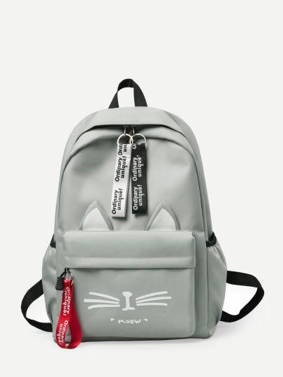 Slogan Ribbon Pocket Front Backpack