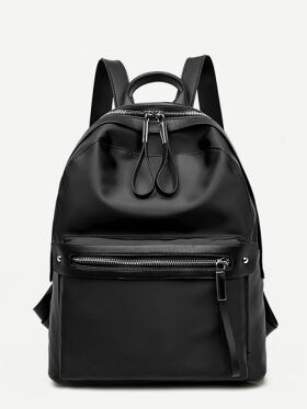 Zip Closure PU Backpack