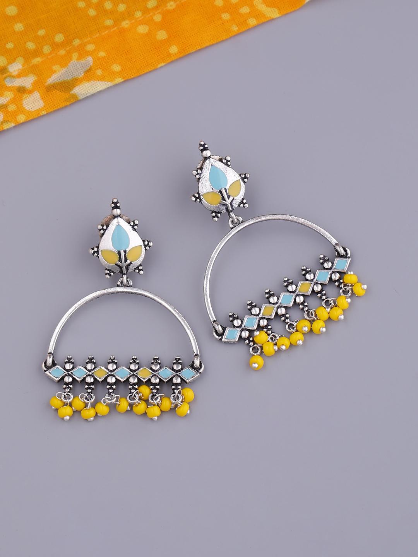 Studio Voylla Silver-Plated & Enamelled Contemporary Drop Earrings