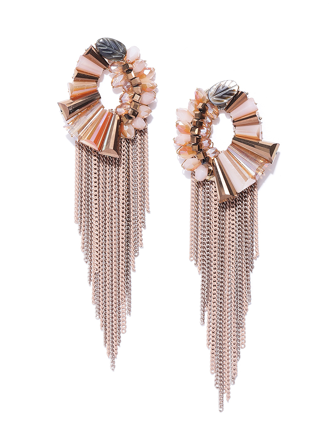 Jewels Galaxy Beige Rose Gold-Plated Handcrafted Tasselled Contemporary Drop Earrings