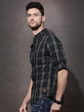 Roadster Men Black & Grey Checked Casual Shirt