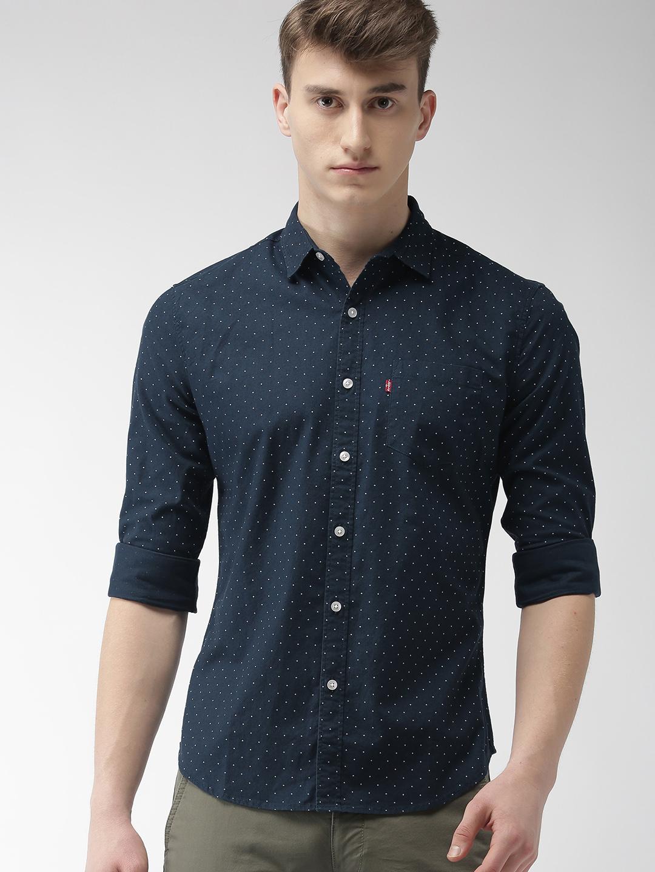 Levis Men Navy Slim Fit Printed Casual Shirt