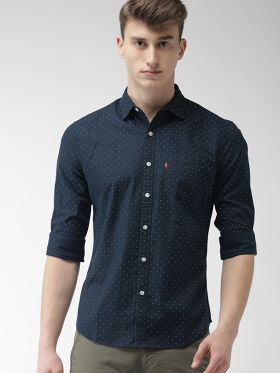 Levis Men Navy Slim Fit Printed Casual Shirt