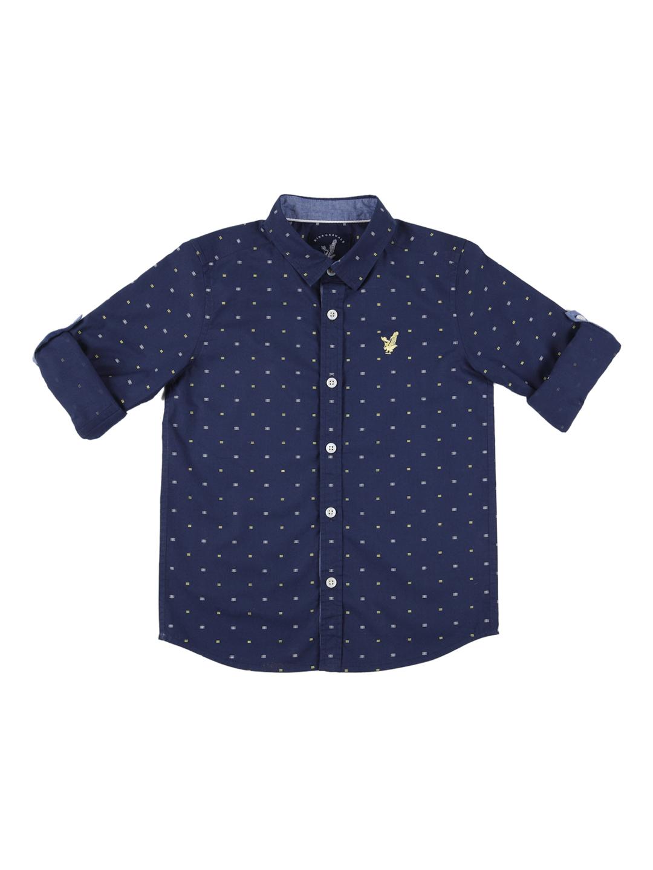 URBAN SCOTTISH Boys Navy Blue Standard Regular Fit Printed Casual Shirt