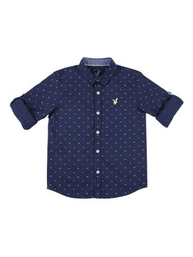 URBAN SCOTTISH Boys Navy Blue Standard Regular Fit Printed Casual Shirt