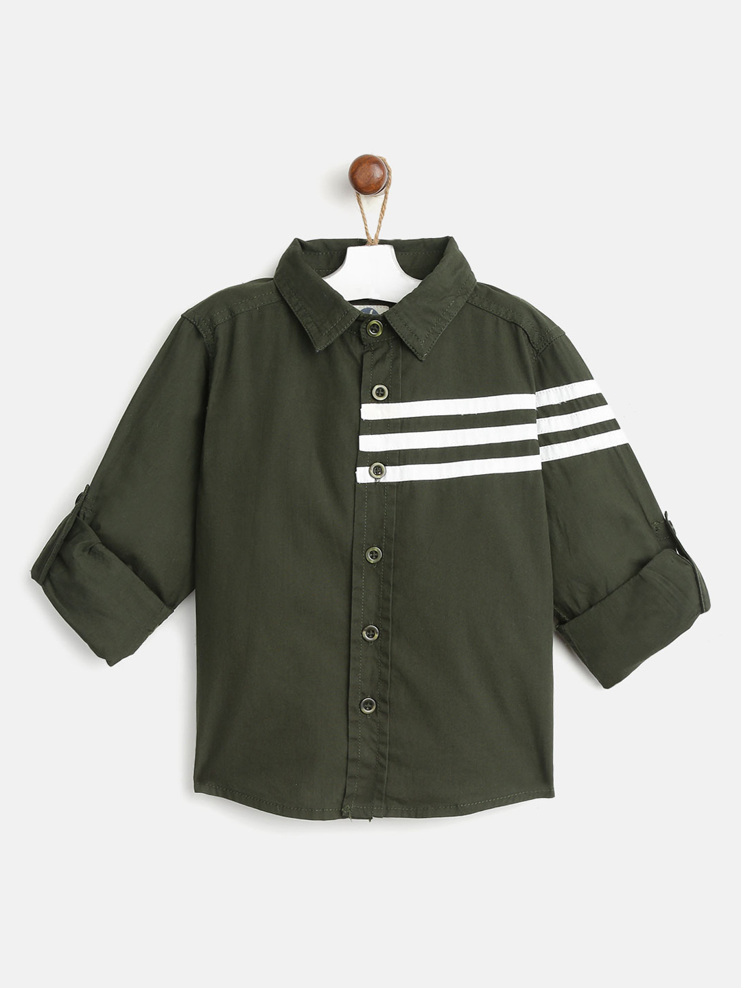 YK Boys Olive Green Regular Fit Solid Casual Shirt