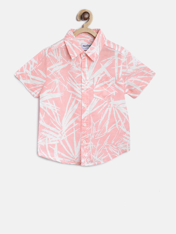 Nauti Nati Boys Pink & White Regular Fit Printed Casual Shirt