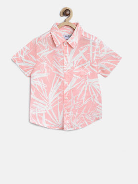 Nauti Nati Boys Pink & White Regular Fit Printed Casual Shirt