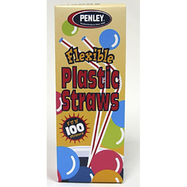 PENLEY FLEXIBLE PLASTIC STRAWS 100'S