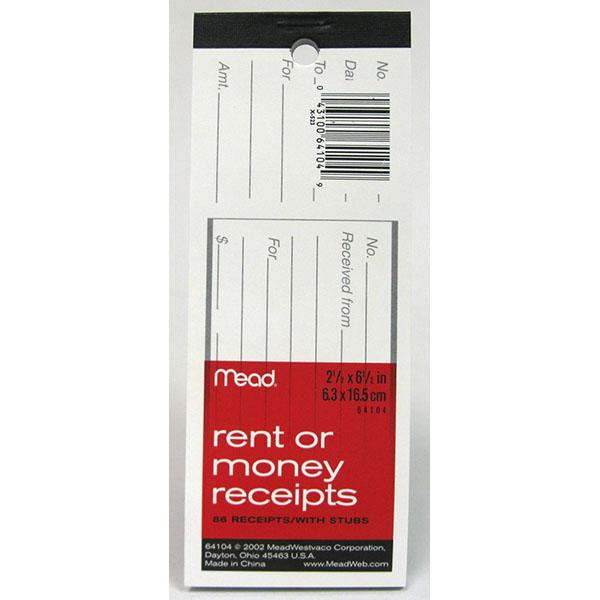 MEAD RENT/MONEY RECEIPT W/STUB 2-1/2X6-1/2 86 SH #64104