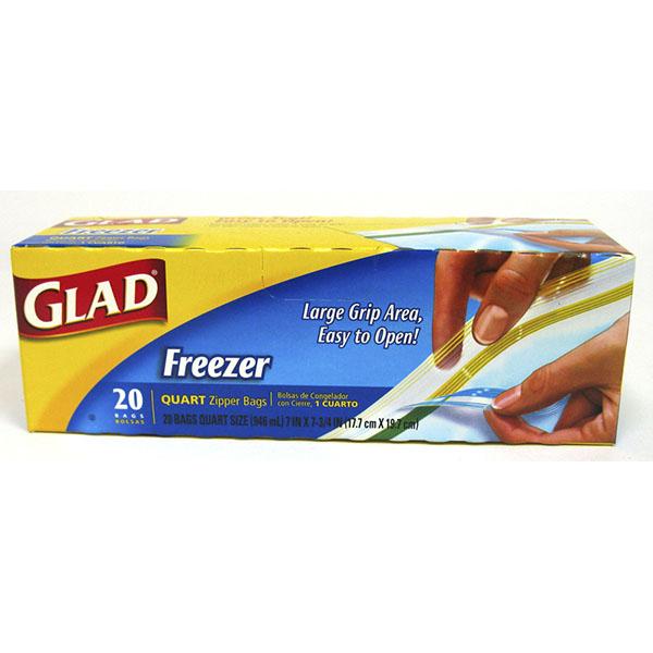 GLAD BAGS ZIPPER FREEZER 20'S *QUART*