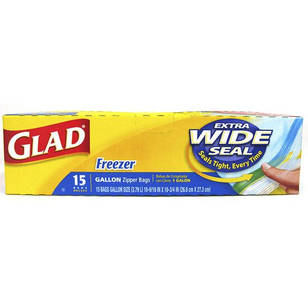 GLAD ZIPPER FREEZER BAGS 15'S *GALLON*