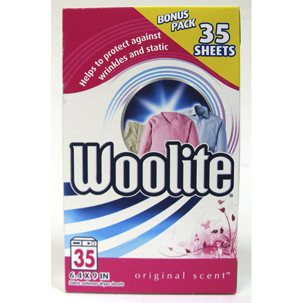 WOOLITE FABRIC SOFTNER DRYER SHEETS 35'S