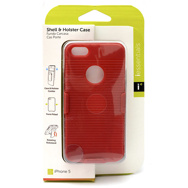 PHONE CASE I-PHONE 5 SHELL & HOLSTER *RED* #IPH5-HC-RD