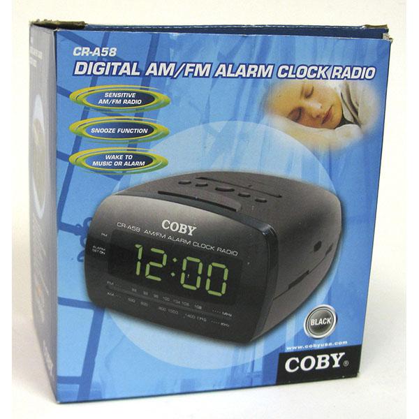 COBY DIGITAL AM/FM ALARM CLOCK RADIO #CR-A58