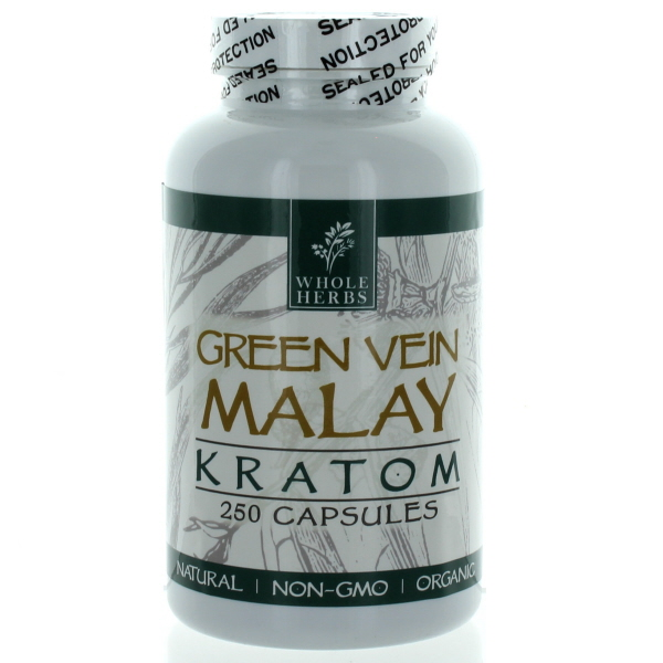 WHOLE HERBS KRATOM CAPS BTL.*GREEN VEIN MALAY* 250'S