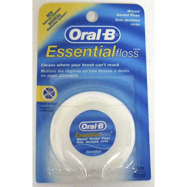 ORAL-B ESSENTIALFLOSS DENTAL FLOSS 55YD *WAXED*