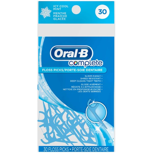 ORAL-B COMPLETE FLOSS PICK ICY COOL MINT 30'S