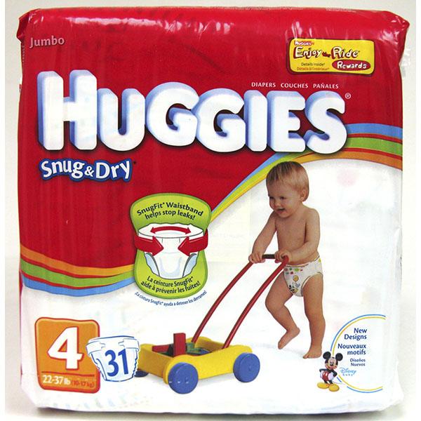 HUGGIES SNUG & DRY DIAPERS #4 31'S