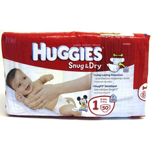 HUGGIES SNUG & DRY DIAPERS #1 50'S