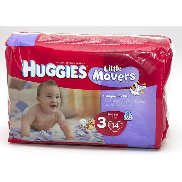HUGGIES LITTLE MOVERS DIAPERS #3 14'S