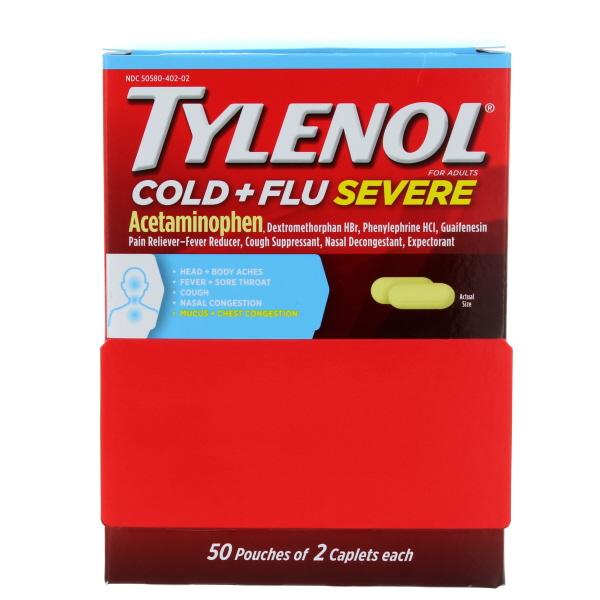 TYLENOL COLD+FLU SEVERE CAPLET POUCH 50*2