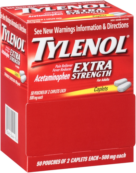 TYLENOL EXTRA STRENGTH POUCH 2'S 50CT