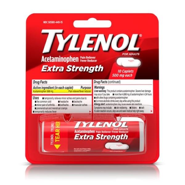 TYLENOL EXTRA STRENGTH CAPLET VIAL 10'S *BLISTER PK.*