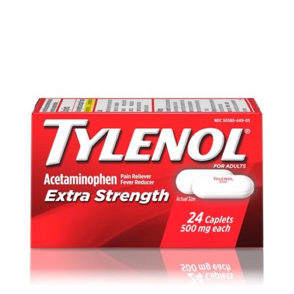 TYLENOL EXTRA STRENGTH CAPLET 24'S