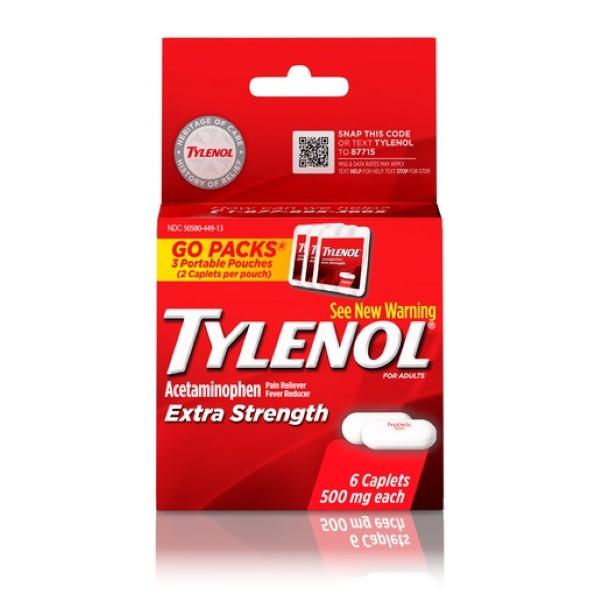TYLENOL EXTRA STRENGTH CAPLET 6'S