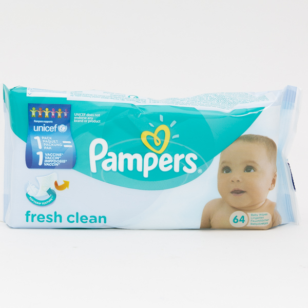 PAMPERS BABY WIPES SOFT PK. 64'S IMP. *FRESH CLEAN*