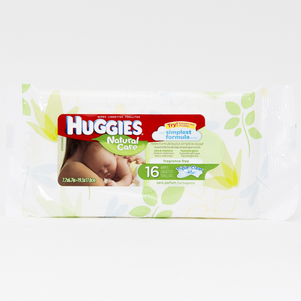 HUGGIES BABY WIPES SOFT PK. TRAVEL SZ. 16'S *NATURAL CARE*