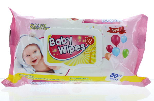 BABY WIPES SOFT PK. 80'S W/LID *PINK*