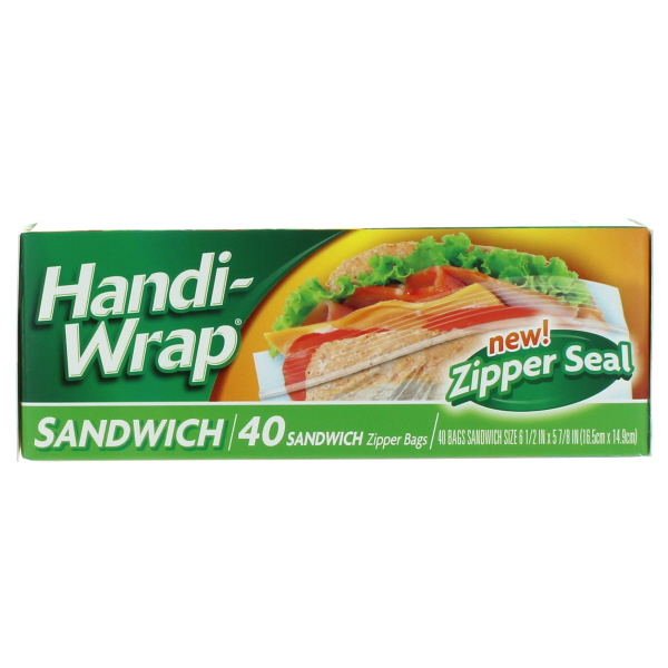 HANDI-WRAP ZIPPER SANDWICH BAGS 40'S