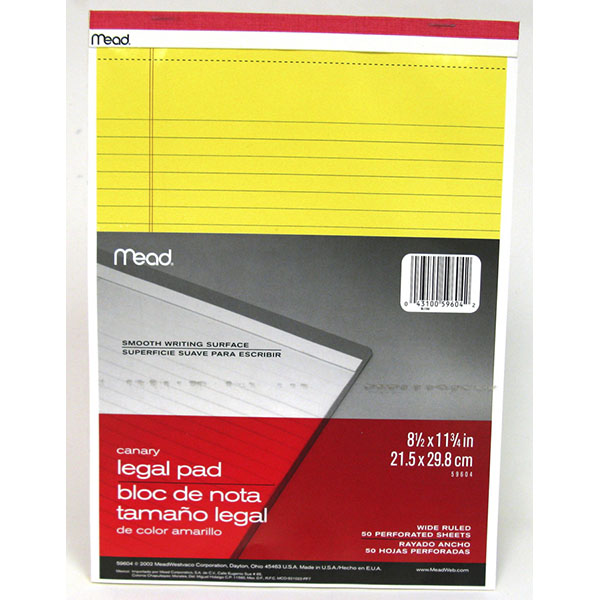 MEAD YELLOW LEGAL PAD 8.5