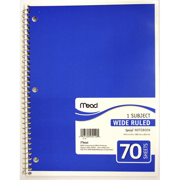 MEAD NOTE BOOK SPIRAL 1 SUBJECT 70 SH #05510