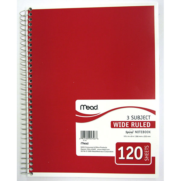 MEAD NOTE BOOK SPIRAL 3 SUBJECT 120 SH #05746