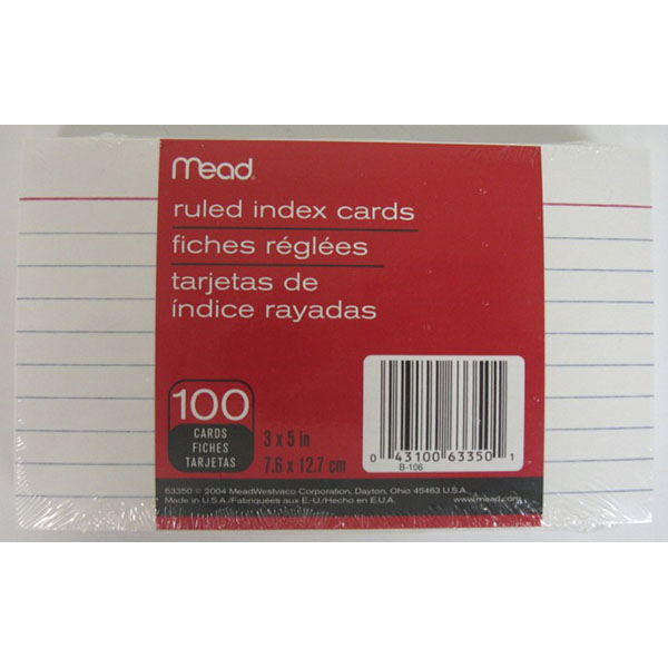 MEAD INDEX CARDS RULED 3