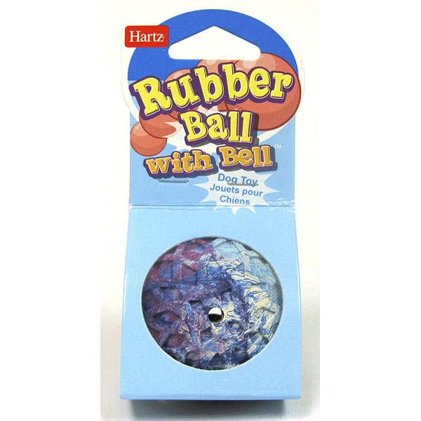 HARTZ TOY DOG RUBBER BALL W/BELL