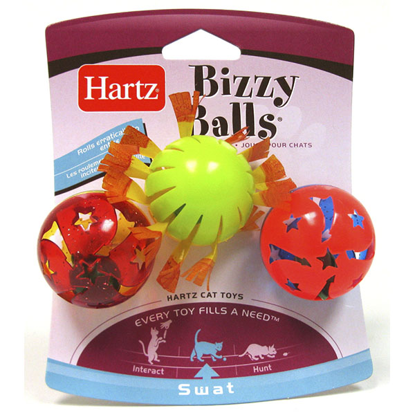 HARTZ TOY CAT BIZZY BALLS 3'S